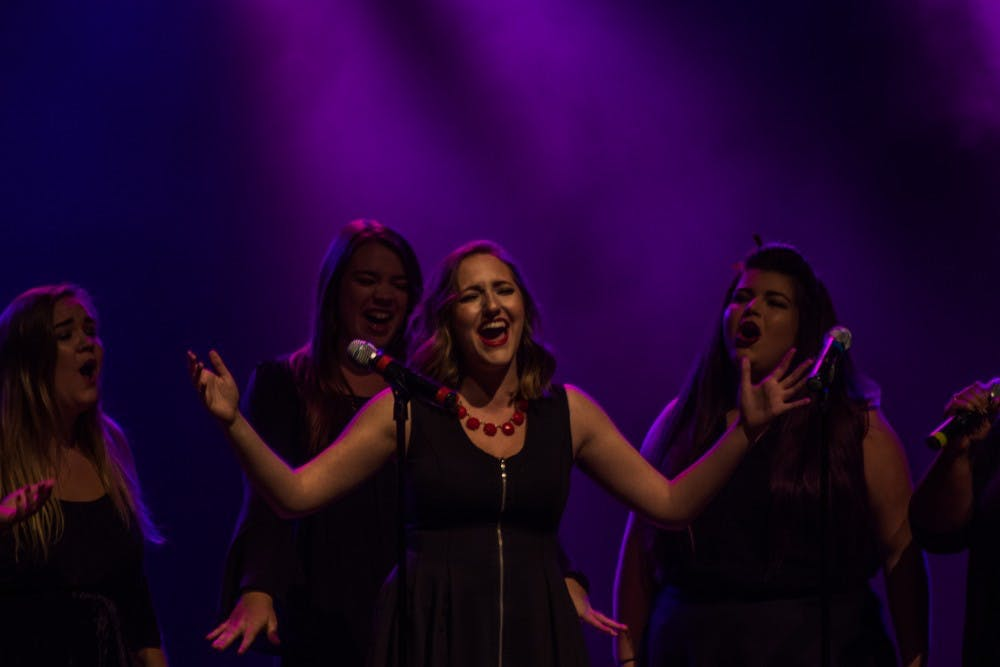 "Ladies' Choice performed ""Hollow"" at the 32nd annual Talent Search at Emens Auditorium on Oct. 18. Reagan Allen, DN File"