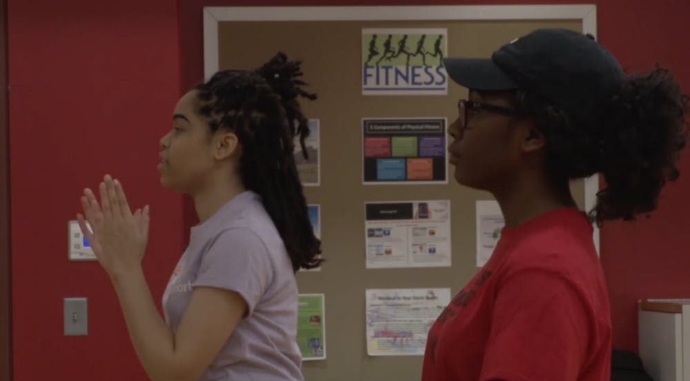 Members of the RedPrint Step Team practice together. The group practices on Sundays and Thursdays for two to three hours in the Jo Ann Gora Student Recreation and Wellness Center. Mary Freda and Paige Grider, DN