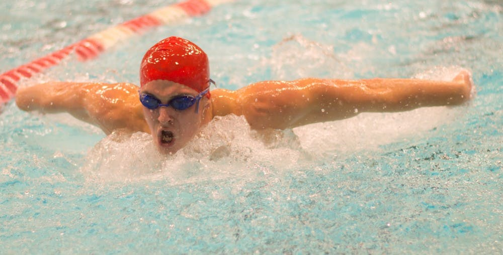 Sophomore Adam Pongracz swims the 200 yard butterfly during the meet against Tiffin on Nov. 11 in the Lewellen Aquatic Center. Ball State's next home meet is against Grand Valley State on Nov. 20. Terence K. Lightning Jr., DN File