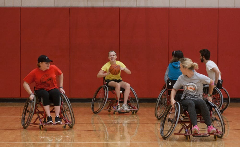 Ball State students play wheelchair basketball at the Recreation and Wellness Center on Sept. 21, 2016. Kaiti Sullivan, DN File