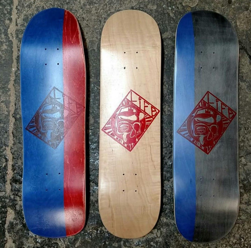 Samuel Koch has a local business called Life Skateboards. It emphasizes craft-made skateboard decks and accessories, pressed and designed by Samuel himself. Samuel Koch Facebook, Photo Courtesy