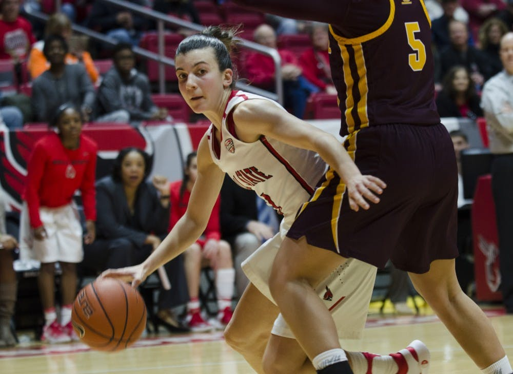 Junior guard Carmen Grande tries to make it to the basket during the game against Central Michigan University on Feb. 25 at Worthen Arena. Ball State will host the University of Illinois Springfield for an exhibition game on Nov. 1. Emma Rogers, DN File