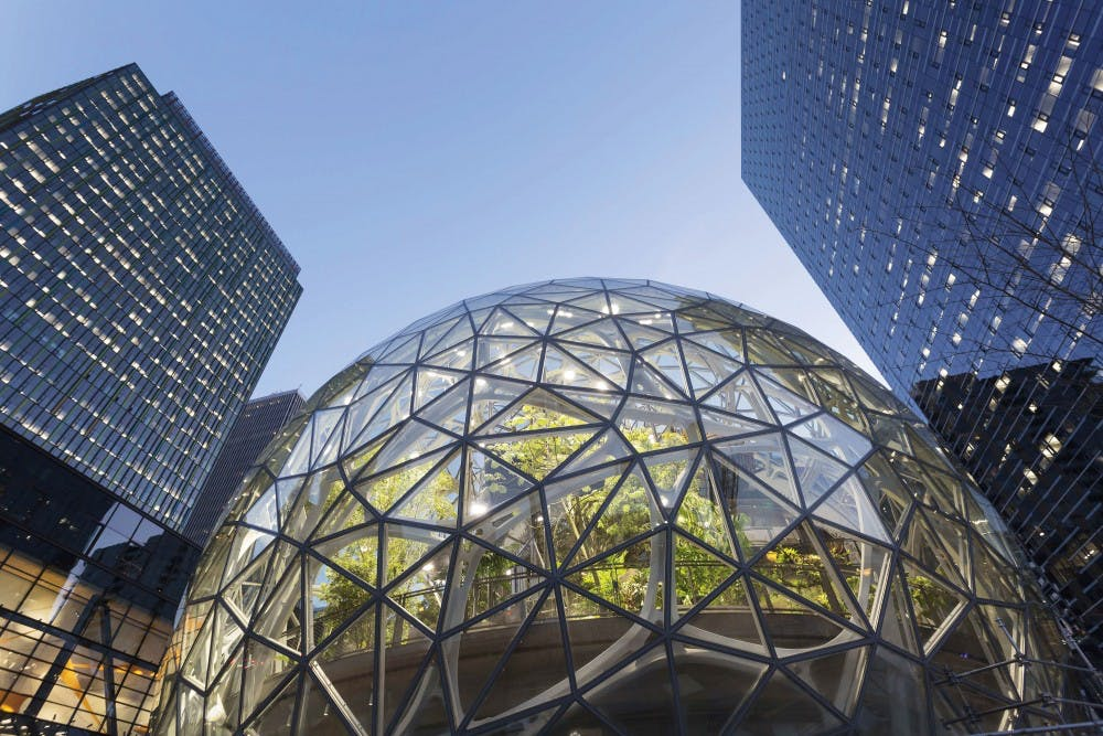 The Amazon Spheres under construction at the Amazon Urban Campus in the Belltown neighborhood of Seattle. Amazon has unveiled its 20 finalist cities in which to build its second headquarters. TNS Photo