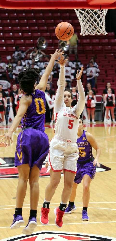 Ball State freshman Maliah Howard-Bass shoots two during the Cardinals' game against Lipscomb on Nov. 15 in John E. Worthen Arena. Howard-Bass had nine points. Paige Grider, DN