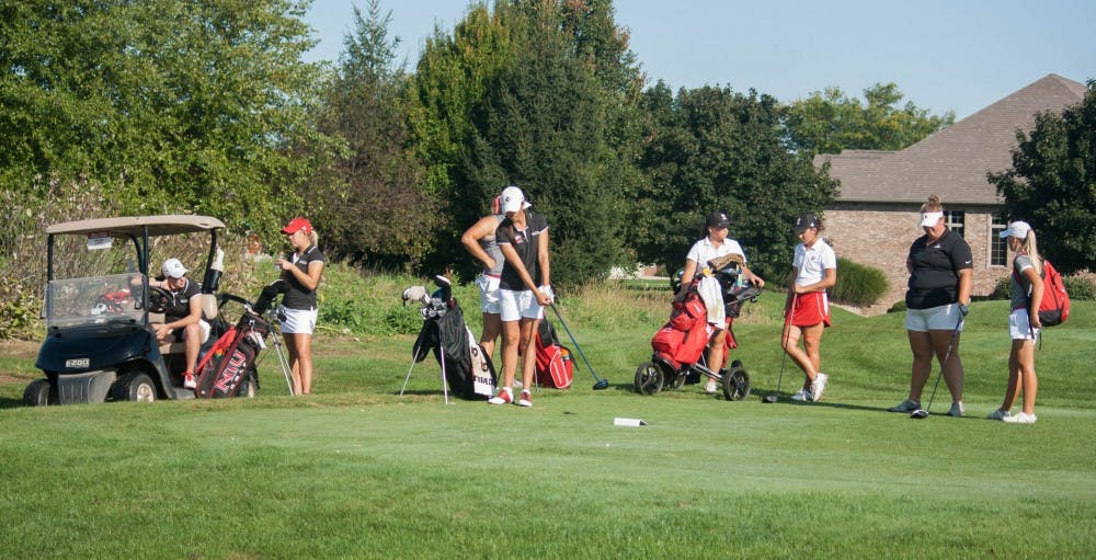The women's golf team wait their turn on Sept. 20, 2016 at the Cardinal Classic. Ball State women's golf traveled to Normal, Illinois Sunday to compete in the annual Redbird Invitational hosted by Illinois State. Kaiti Sullivan, DN File