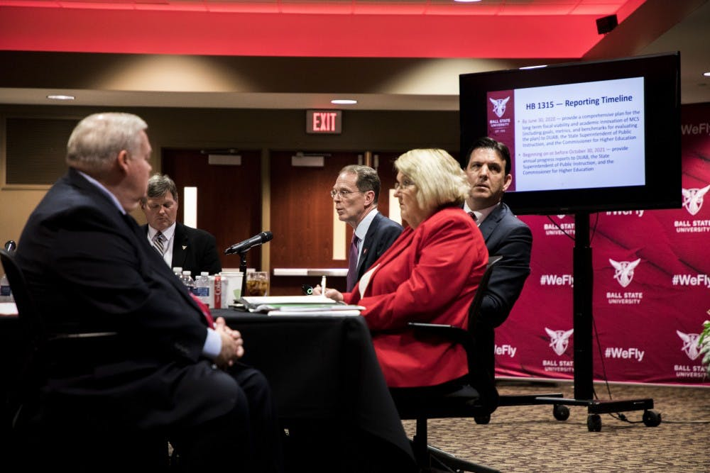 Ball State University President Geoffrey Mearns gives a presentation regarding his proposal to help Muncie Community Schools Wednesday, May 16, in the L.A Pittinger Student Center. Tuesday, Gov. Eric Holcomb signed House Bill 1315 into effect. Rachel Ellis, DN