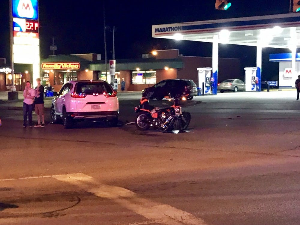 A car and a motorcycle were involved in an accident at Bethel and Tillotson avenues Wednesday night. The motorcyclist was injured and taken to the hospital and is expected to survive. Andrew Smith, DN