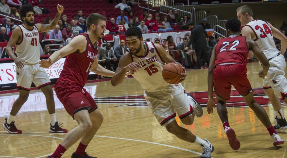 Ball State forward Franko House attempts to score during the game against Miami on Jan. 10 in Worthen Arena. The Cardinals won 85-74. Terence K. Lightning Jr., DN
