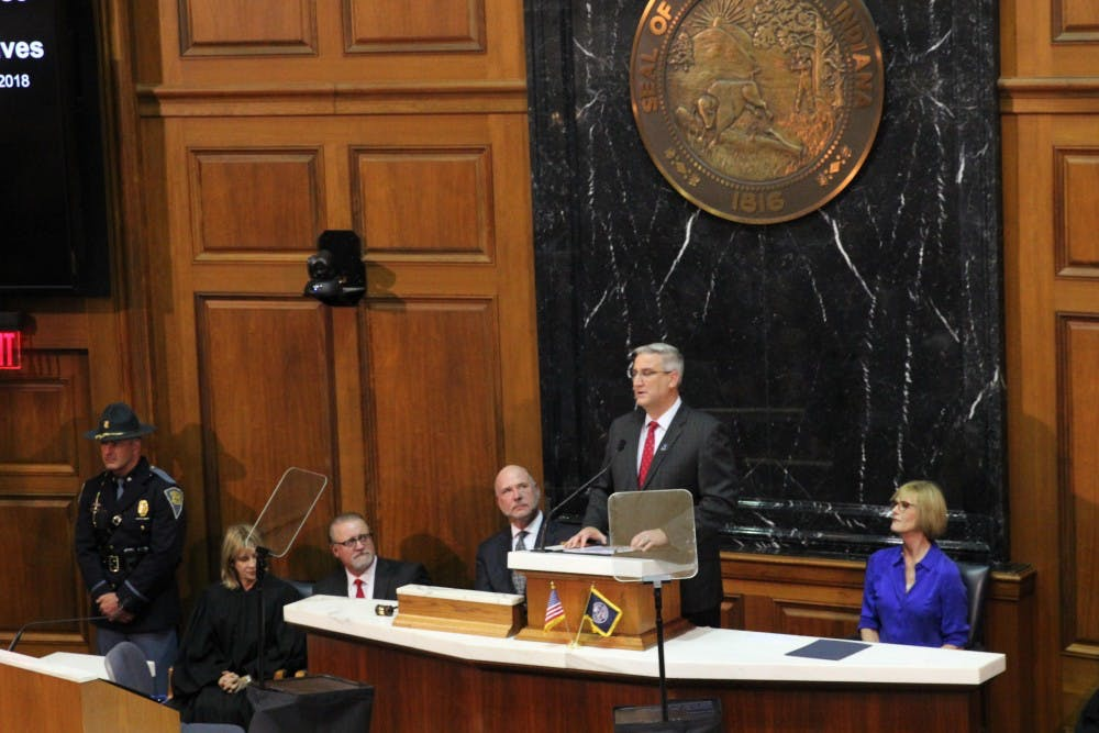 Gov. Eric Holcomb delivers his second State of the State address at the Indiana State Building Tuesday, Jan. 9, 2018. Holcomb focused on continuing his five-year pillar plan. Andrew Smith, DN