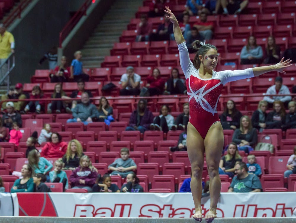 The Ball State gymnastics team held a Red vs. White with special judges on Dec. 4 in John E. Worthen Arena. Their next home meet will be Jan. 28 against Kent State University. Terence K. Lightning Jr., DN.