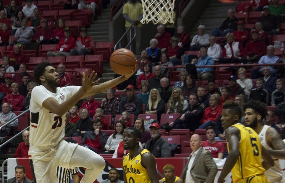 Ball State men's basketball player Tahjai Teague, 25, goes to shoot the ball during the first half of the game against Kent State Feb. 9 at John E. Worthen Arena. Teague scored 20 points during the game. Briana Hale, DN