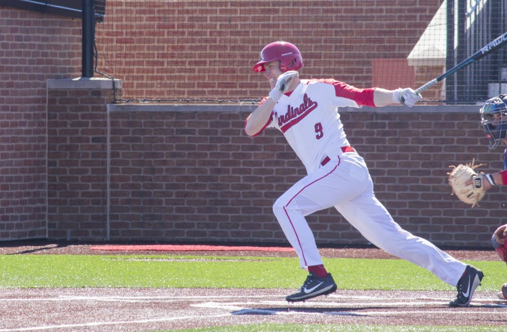 Ball State baseball player Colin Brockhouse begins to run after hitting the ball during the game against the University of Dayton on March 18 at the Baseball Diamond at First Merchant's Ballpark Complex. Briana Hale, DN