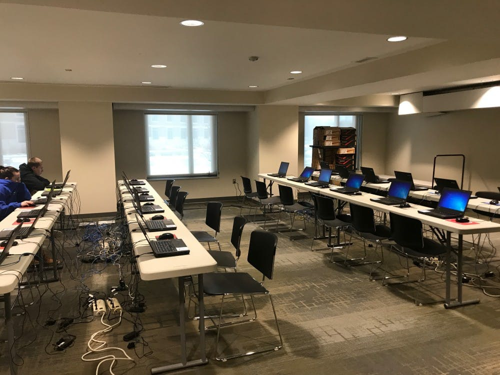Students work at the newly created final exam testing lab in Botsford/Swinford Residence Hall. This is the first time Ball State has created a testing lab in student housing.  Konnor Miller, Photo Provided