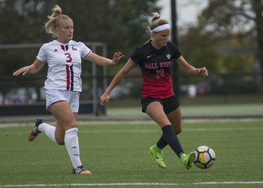 Junior forward Evie Stepaniak attempts to move the ball down the field in the game against Northern Illinois on Oct. 8 at the Briner Sports Complex. The Cardinals next home game is Oct. 13 against Eastern Michigan. Breanna Daugherty, DN