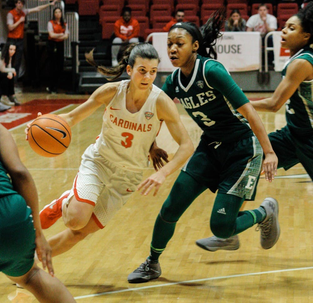 Junior Carmen Grande dribbles the ball down the court towards the goal to gain another point for the Cardinals during the Ball State vs. Eastern Michigan women's basketball game on February 7 in Worthen Arena. Carlee Ellison, DN