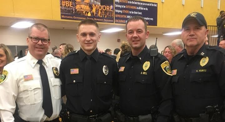 Ball State alumnus Brock Bevans, second from the left, was hired by the Ball State University Police Department in October 2017. Ball State University Police Department Facebook, Photo Courtesy