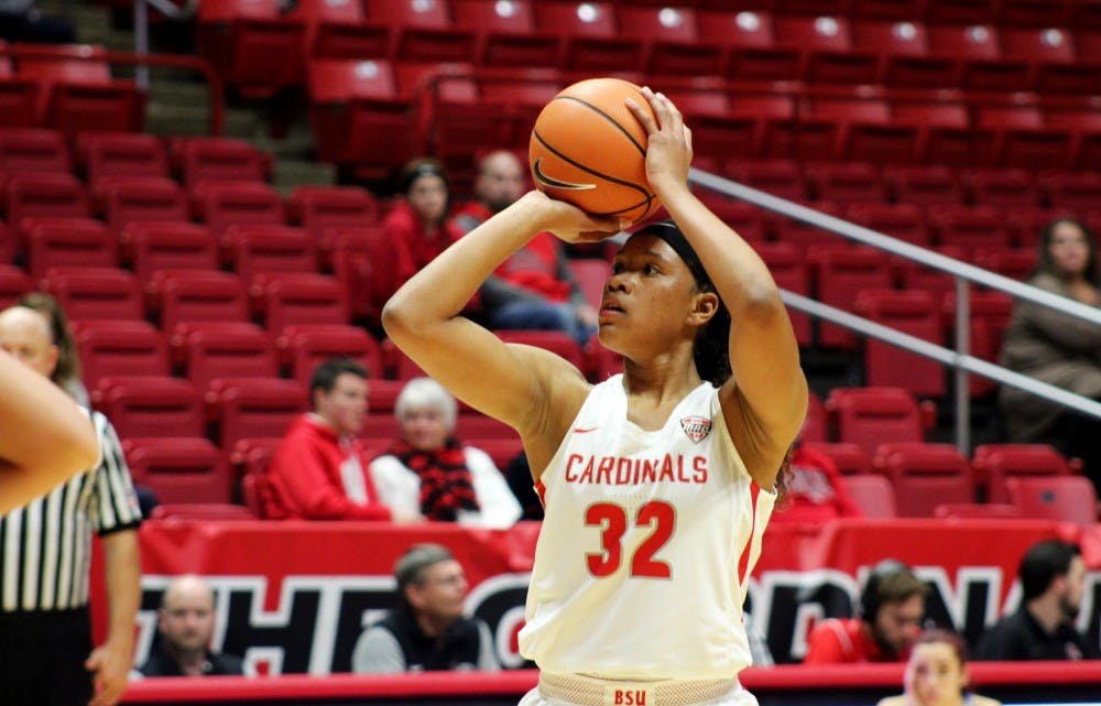 Freshman forward Oshlynn Brown attempts a shot in the second half of Ball State's 126-55 victory over Oakland City on Dec. 9. She scored a game-high 17 points in the win. Josh Shelton, Photo Provided.