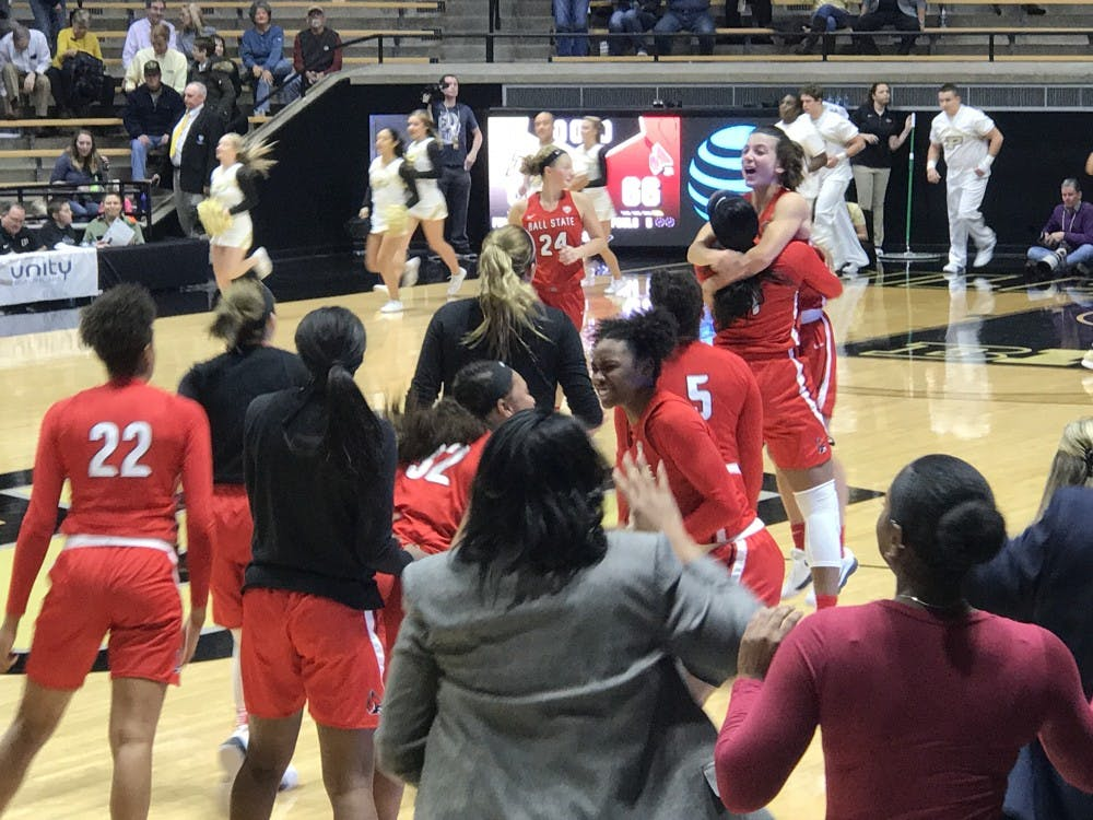 Ball State women's basketball players celebrate after defeating Purdue 66-60 on Dec. 4. Mitch Barloga, Photo Provided