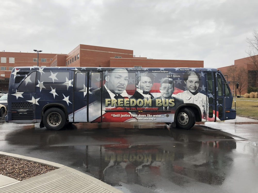 The Freedom Bus came to Ball State's campus Feb. 15, to allow students to see the exhibits inside. The bus is full of local civil rights history. Andrew Smith, DN
