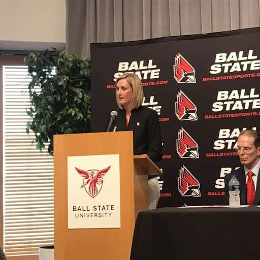 Beth Goetz speaks at her press conference after being named Ball State's new athletic director on May 21. Goetz previously served as the chief operating officer and senior woman administrator at the University of Connecticut for three years. Pauleina Brunnemer, DN Photo