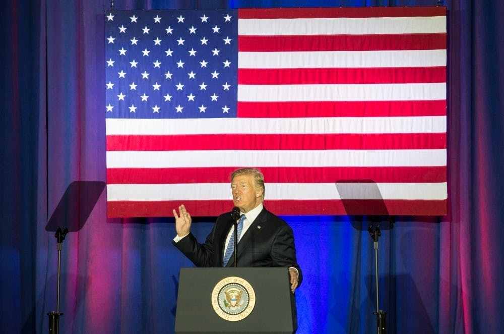 President Donald Trump speaks in the Farm Bureau Building on Sept. 27 at the Indianapolis State Fairgrounds. The Trump administration plans to announce new sanctions on North Korea. Kaiti Sullivan, DN File
