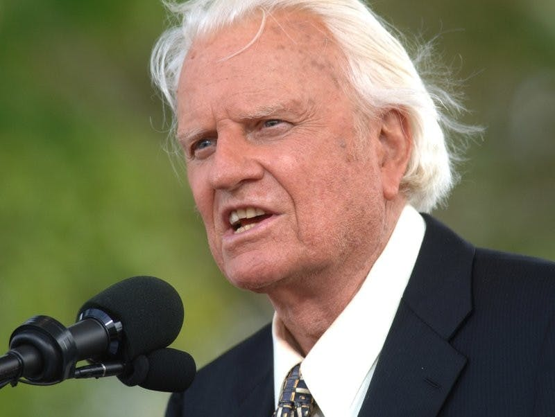 In this June 26, 2005 file photo, the Rev. Billy Graham speaks on stage on the third and last day of his farewell American revival in the Queens borough of New York. A spokesman said on Graham has died at his home in North Carolina at age 99. AP Photo/Henny Ray Abrams, Photo Courtesy