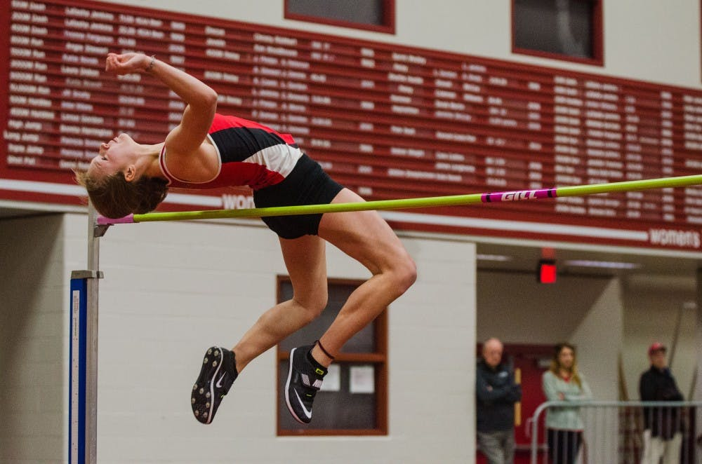 Ball State freshman Hailley Peters competes in high jump on Feb. 16 in the Ball State Tune-up at the Field Sports building. Madeline Grosh, DN
