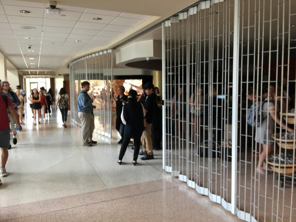 Power outage in the Atrium at the Arts and Journalism Building.