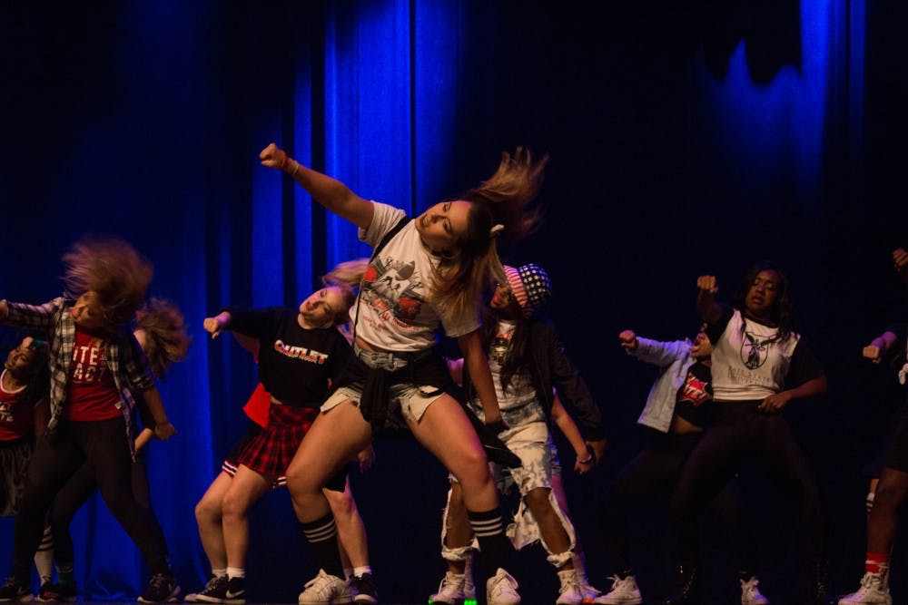 Ball State's Outlet Hip Hop Troupe dances during AirJam on Oct. 19 at John R. Emens Auditorium. Outlet won the competition, furthering their winning streak. Briana Hale, DN