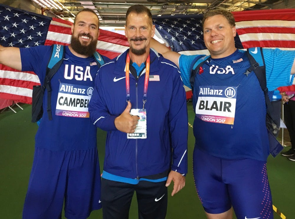 From left: Jeremy Campbell, Larry Judge and David Blair. Ball State kinesiology professor led Campbell and Blair to their second consecutive sweep in the men's F44 discuss throw at the World Para Athletics Championships in London. Larry Judge // Photo Provided