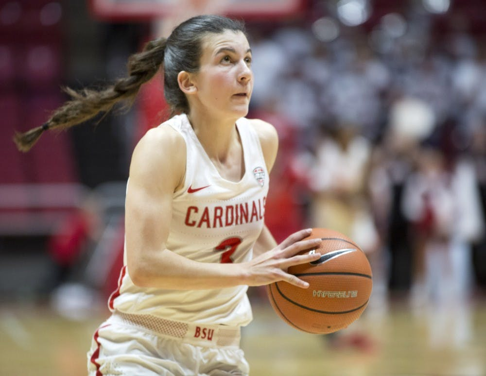 Junior guard Carmen Grande goes up for a layup during the Cardinals' game against Northern Illinois Jan. 27 in John E. Worthen Arena. Eric Pritchett, DN File