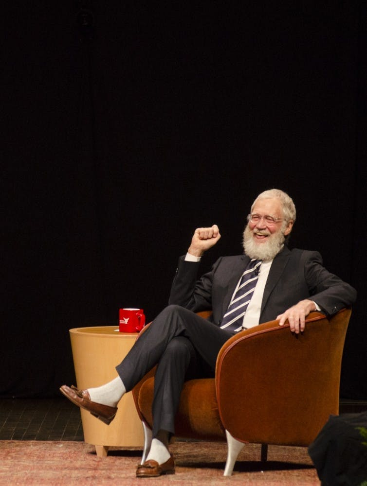 Alumnus David Letterman came to Ball State with filmmakers Spike Jonze and Bennett Miller on Nov. 30 at John R. Emens Auditorium. Recently, the famous talk show host has donated over 1,000 items of memorabilia to the university. Breanna Daugherty//DN File