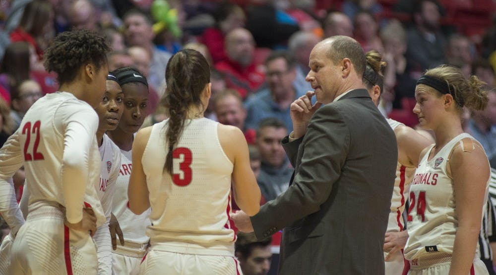 Head coach Brady Sallee talks to women's basketball team members during a timeout during the game against Toledo Feb. 24 at Worthen Arena. Breanna Daugherty, DN