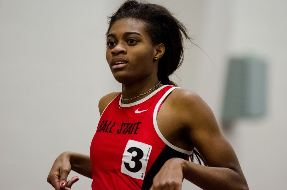 Ball State sophomore Jasmine Harris runs the 200 meter dash on Feb. 16 in the Ball State Tune-up at the Field Sports building. Madeline Grosh, DN