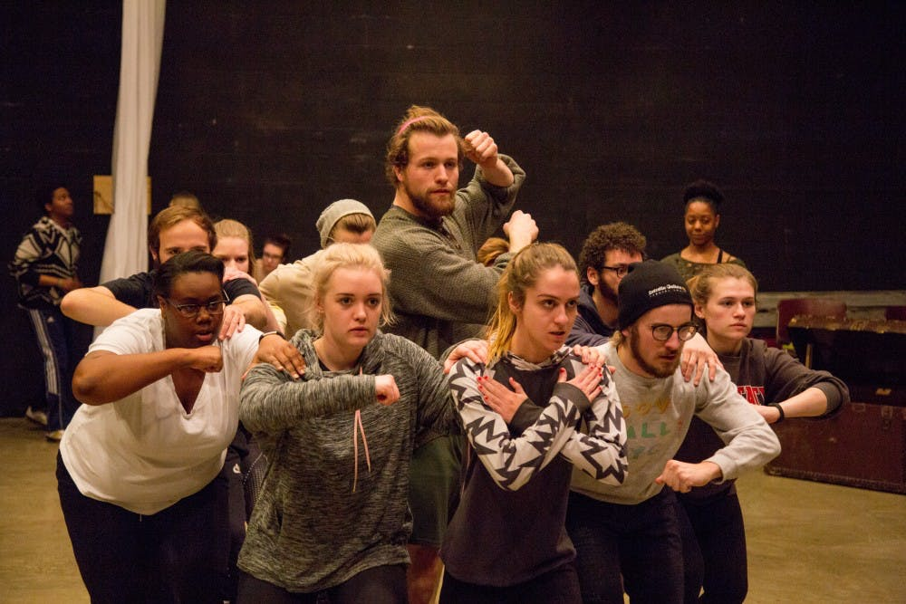 The Department of Theatre and Dance rehearses in Strother Theatre for their performance of Pericles. The show be performed Feb. 16-18. Kaiti Sullivan, DN