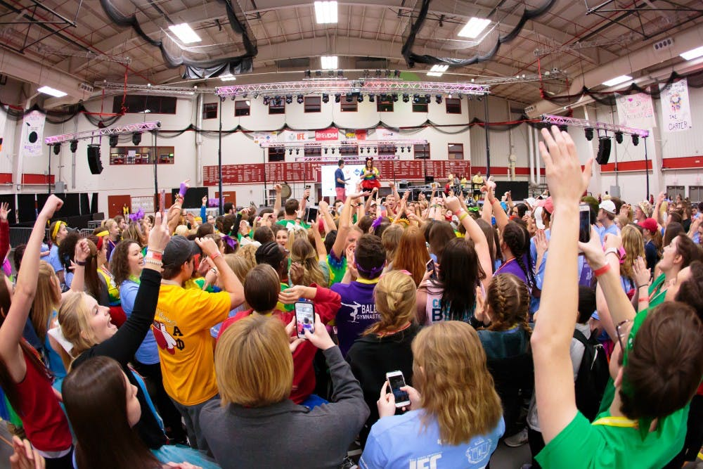 Dancers participate in a free dance session during the annual Ball State University Dance Marathon on Feb. 25 in the Field Sports Building. The event is celebrating its 10th anniversary and has a goal to raise $765,000 to support Riley's Hospital for Children in Indianapolis. Kyle Crawford, DN