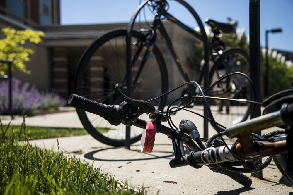 Purchasing Services started tagging abandoned bikes on campus Wednesday, May 23. Bikes are considered abandoned if they are unusable and have rust, bent frames, flat tires or any other missing parts. Rachel Ellis, DN