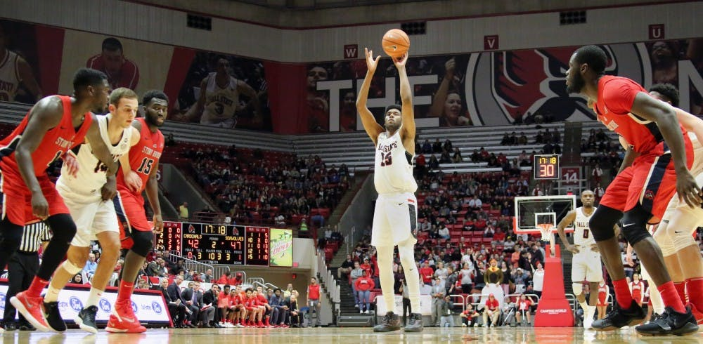 Sophomore forward Tahjai Teague shoots a free throw during the Cardinals' game against Stony Brook on Nov. 17 in John E. Worthen Arena. Teague was Ball State's third leading scorer with 13 points. Paige Grider, DN
