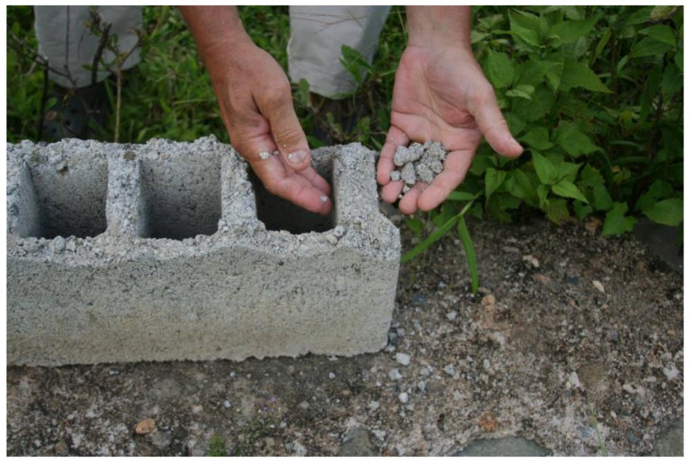 Ball State students in Professor Anthony Costello's project-based class have won three awards for their work on improving concrete block construction in Haiti.The fault in the concrete block making was found in the drying process. Anthony Costello Photo Provided