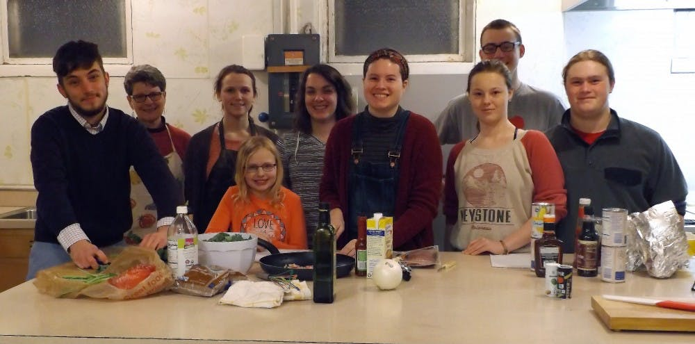 Emily Aker's cooking class prepares their southern themed dish during their weekly class at the United Methodist Church. The nine members split the prep work amongst themselves and teach each other new skills along the way. Emily Aker, Photo Provided