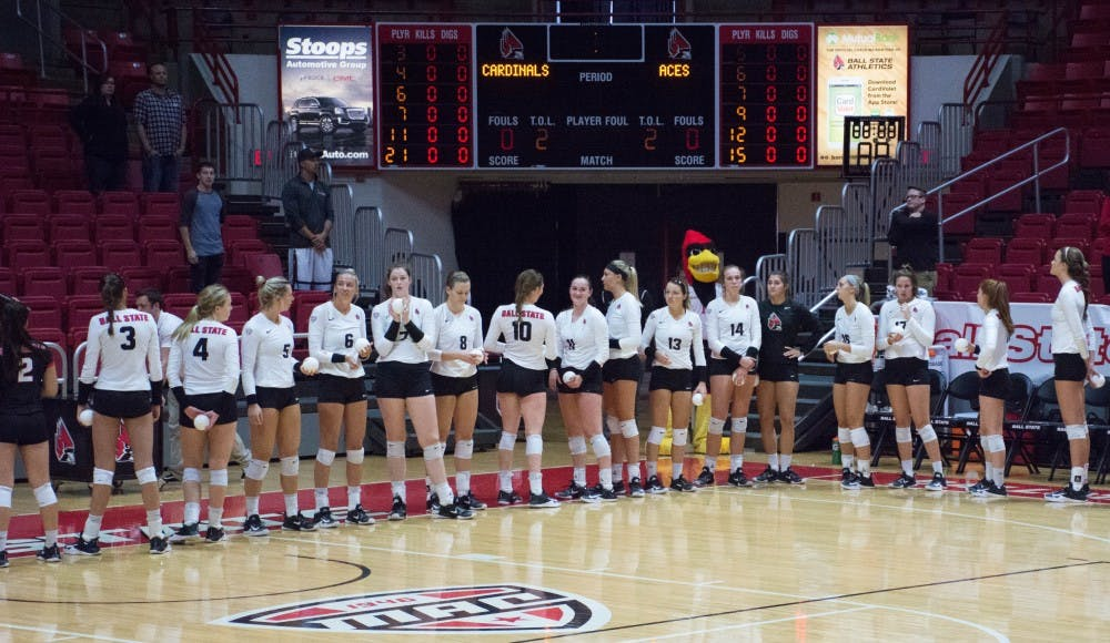 The Ball State's women volleyball team lines up for the start of the game against Evansville on Sept. 14 in John E. Worthen Arena. The Cardinals won 3-0. Jada Coleman, DN File