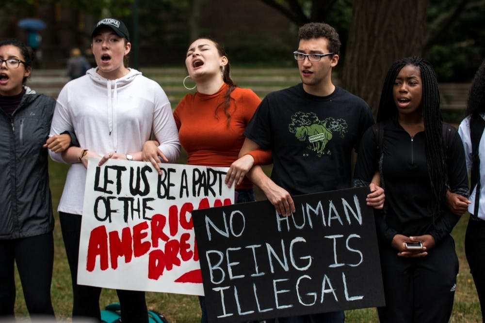 A group of freshmen organized a protest against Trump's DACA repeal