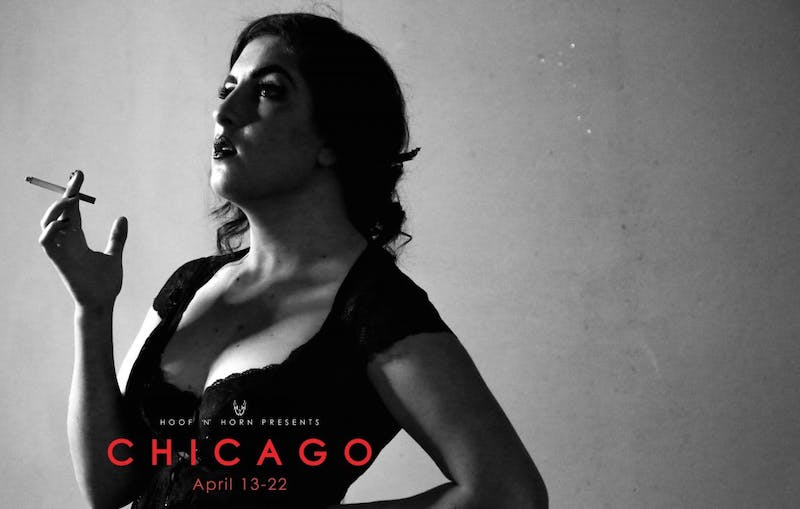 "Hoof 'n' Horn's ""Chicago"" is the first student performance staged in the Rubenstein Arts Center's von der Heyden Studio Theater."