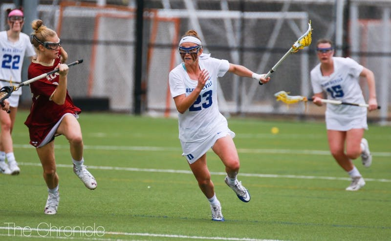 Midfielder Maddie Crutchfield scored four goals in the last season opener of her career to lead Duke to a decisive victory.