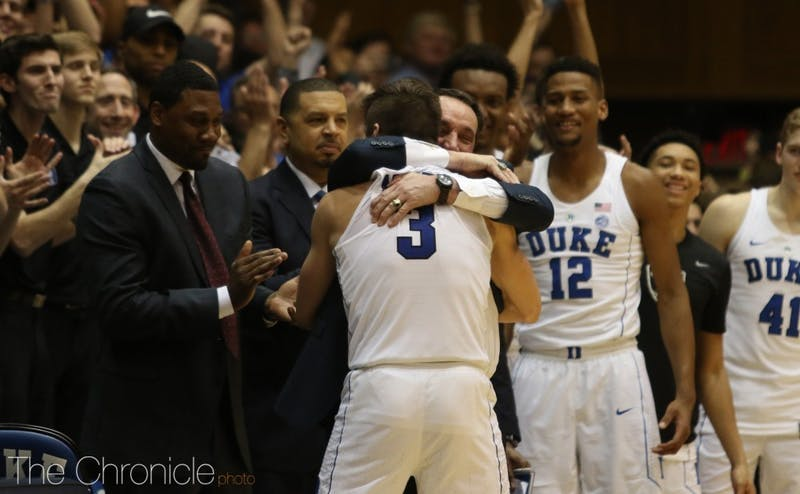 Grayson Allen exited the game with 19.2 seconds left for his final curtain call at Cameron.