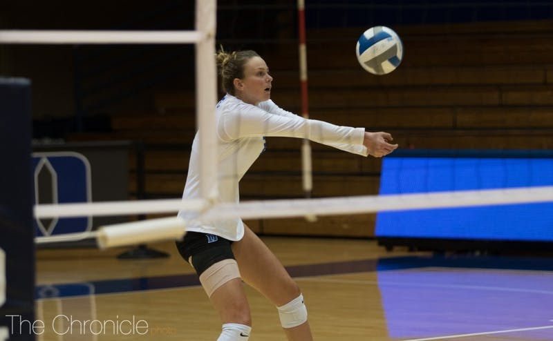 Cadie Bates led the Blue Devils with 18 kills in the loss.