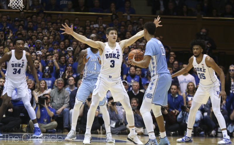 Grayson Allen has become Duke's leader on defense in the top row of its 2-3 zone as one of its chief communicators.