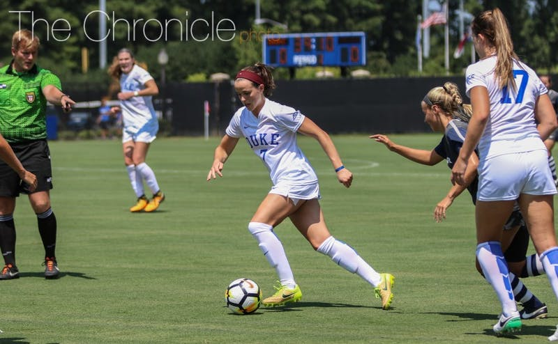 Taylor Racioppi scored or assisted in both of Duke's games last weekend and has made an immediate impact since returning from a season-ending injury last year.
