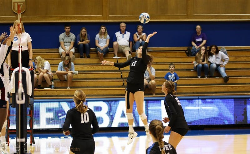 Samantha Amos had 18 kills to lead Duke to a dramatic comeback victory against Virginia Tech