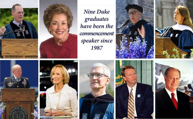 Nine commencement speakers have been alumni in the last 30 years
